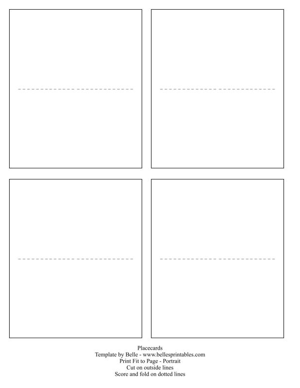 Place Card Template Word Jcmanagementco - Template for place cards