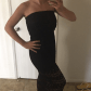 Lace below knee dress  Beautiful Long Black Lace Dress Gorgeous long lace dress with peek