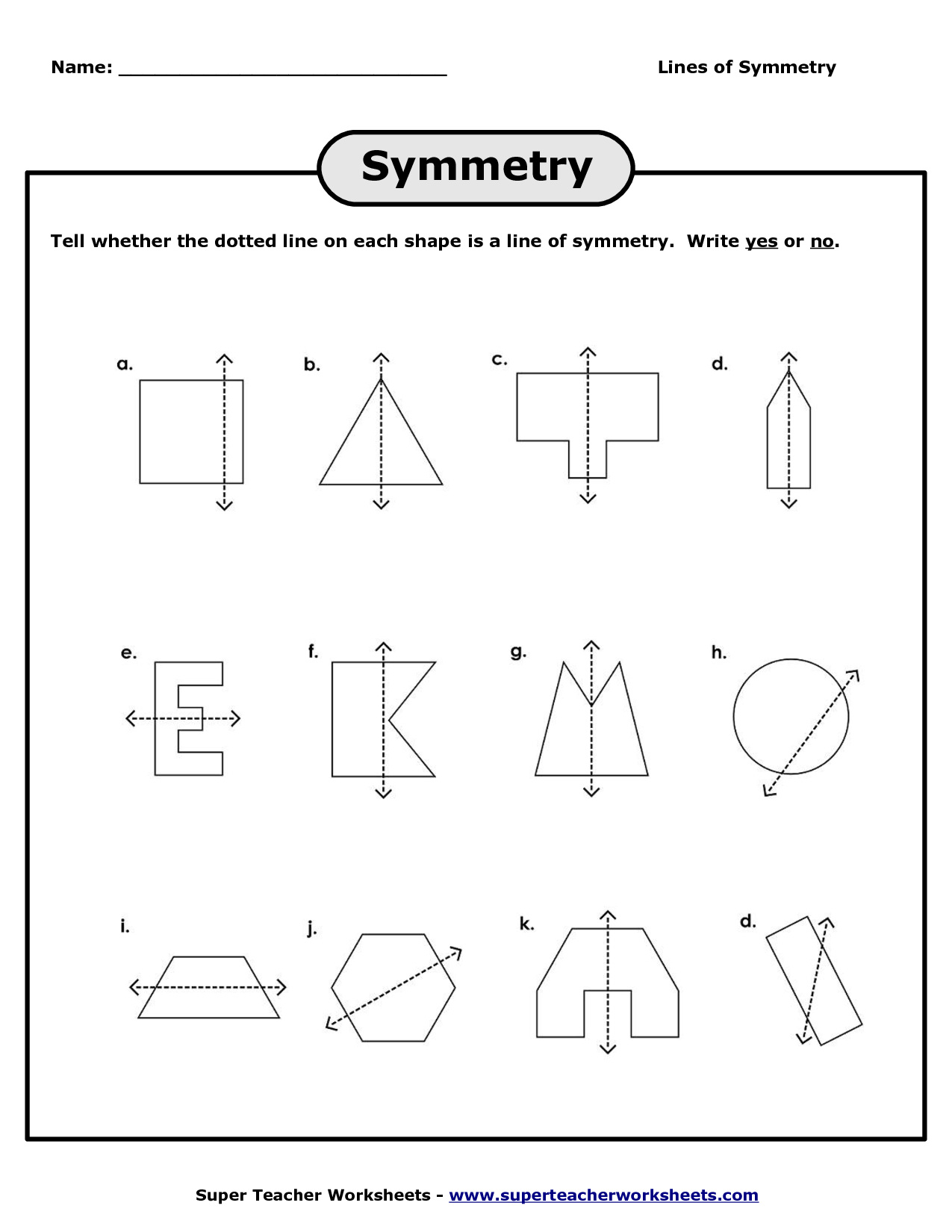 Lines Of Symmetry Worksheets Lines Of Symmetry Worksheet