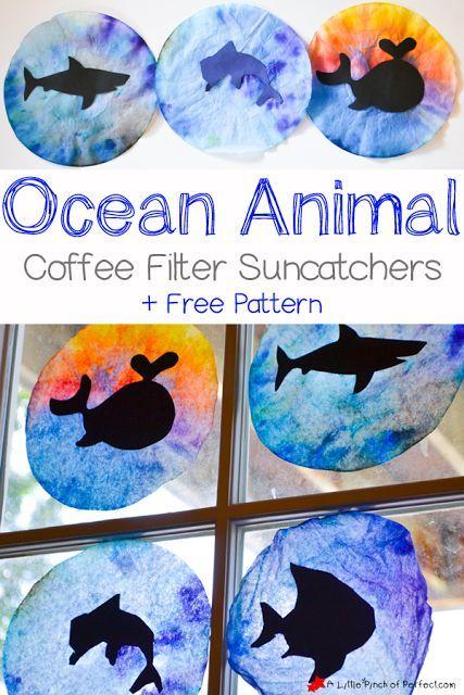 Ocean Animal Coffee Filter Suncatcher Craft for Kids ...