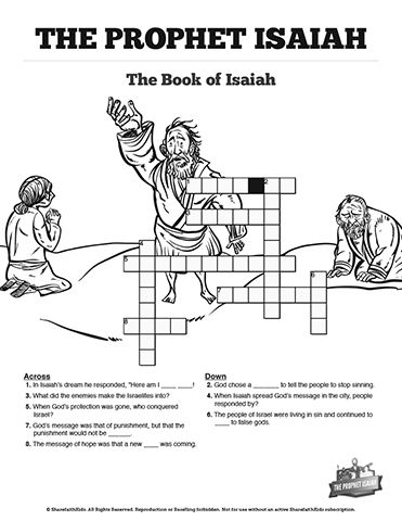 The Prophet Isaiah Sunday School Crossword Puzzles With
