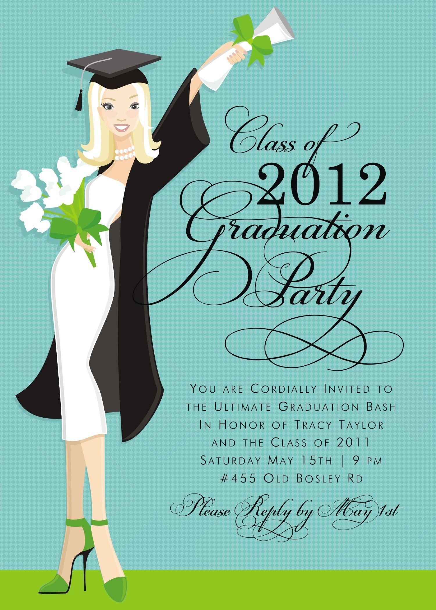 50s Girl Graduation GIRLS GRADUATION INVITATIONS Grad