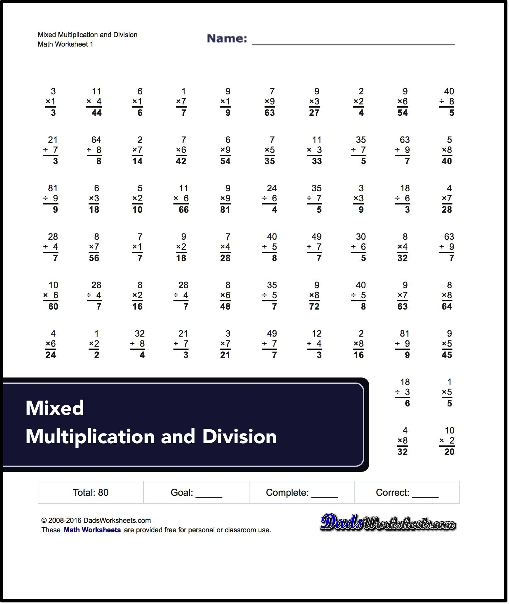 Collection Of Multiplication And Division Worksheets That Can Be Used For Timed Practice Once