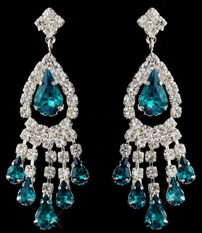 Silver Teal Teardrop Clear Round Rhinestone Chandelier Earrings