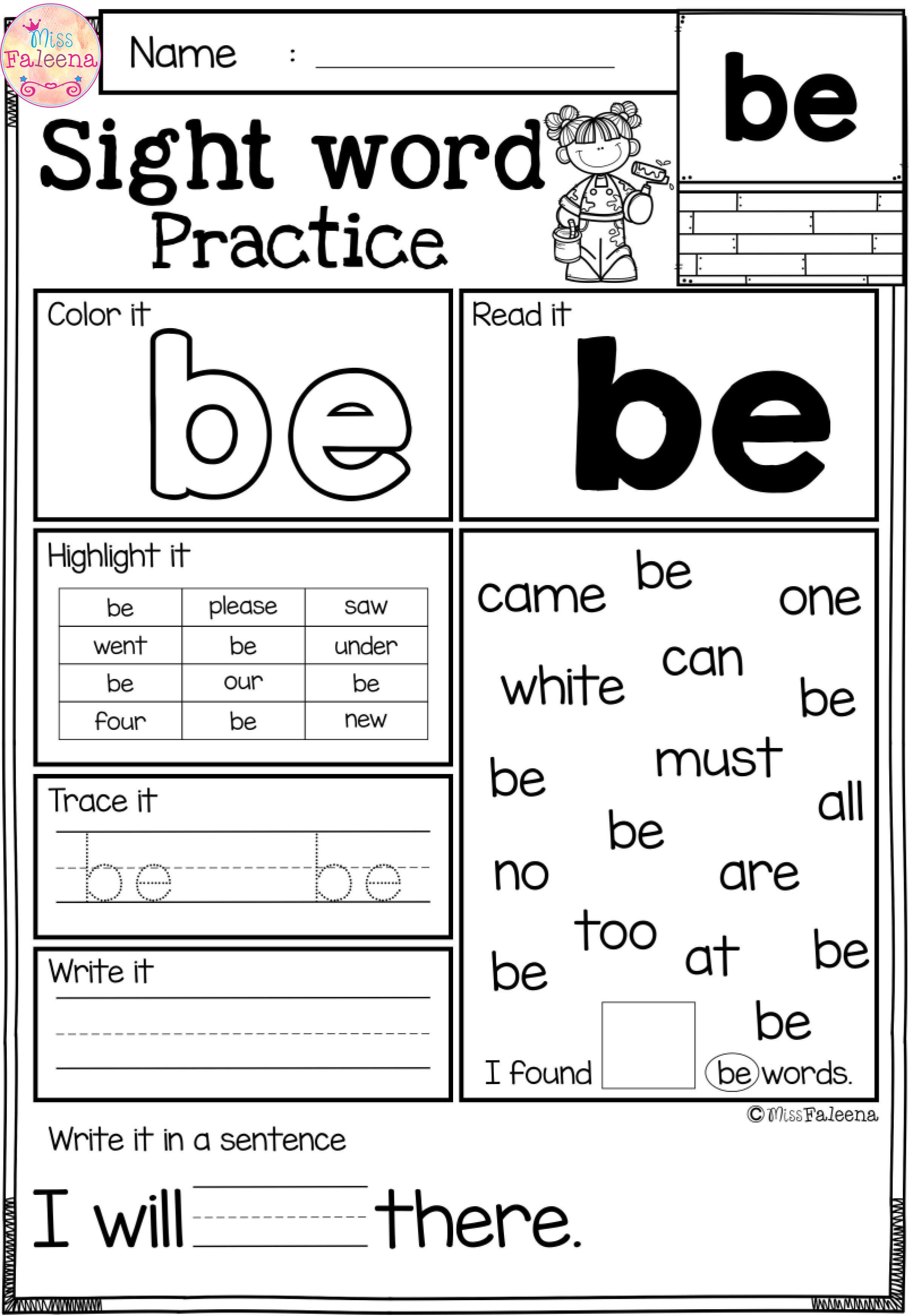 These Are Free Samples From My Sight Word Practice Bundle
