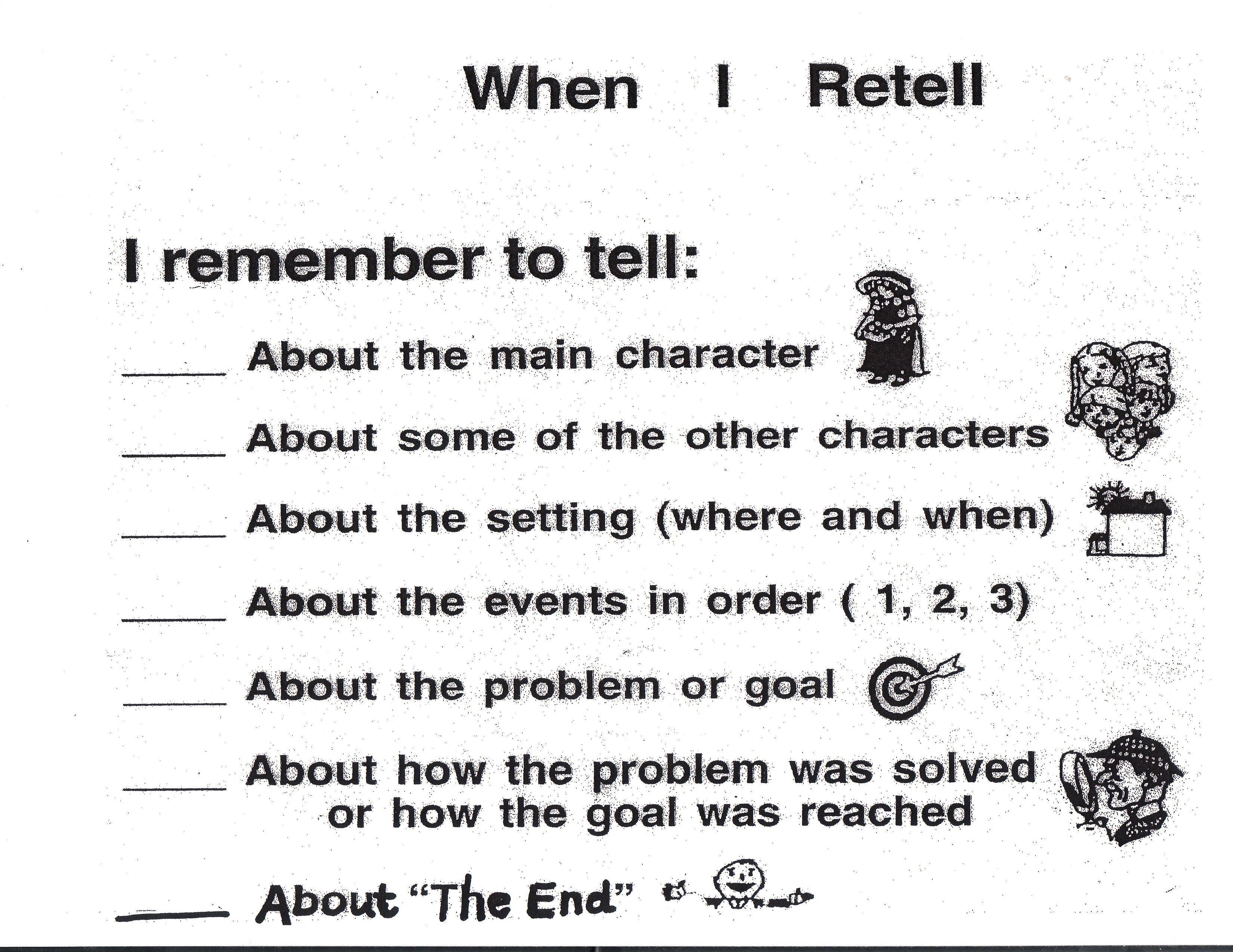 Story Retell Checklist