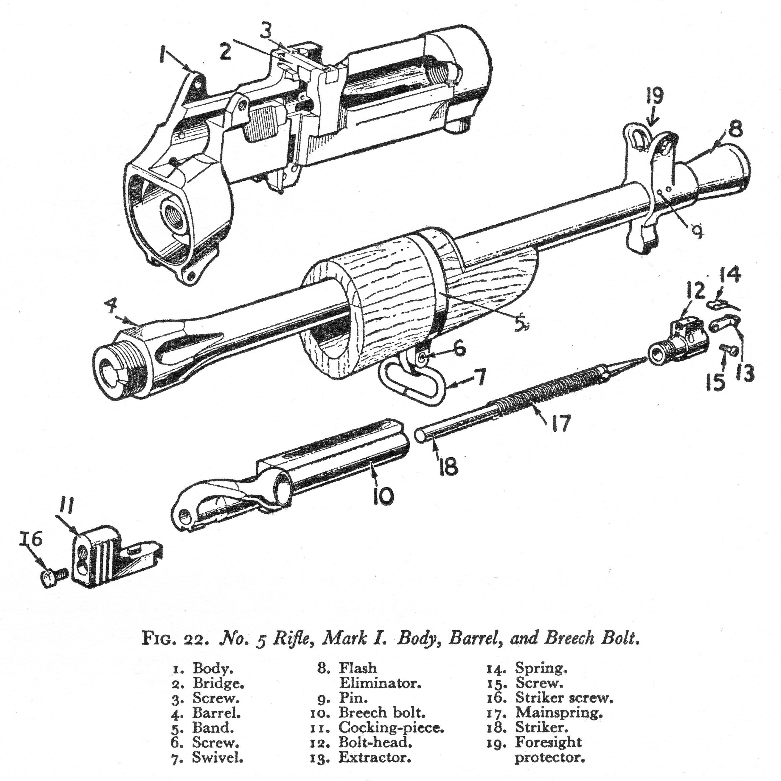 Line Drawing Of No 5 Mki Rifle Receiver Bolt And Barrel
