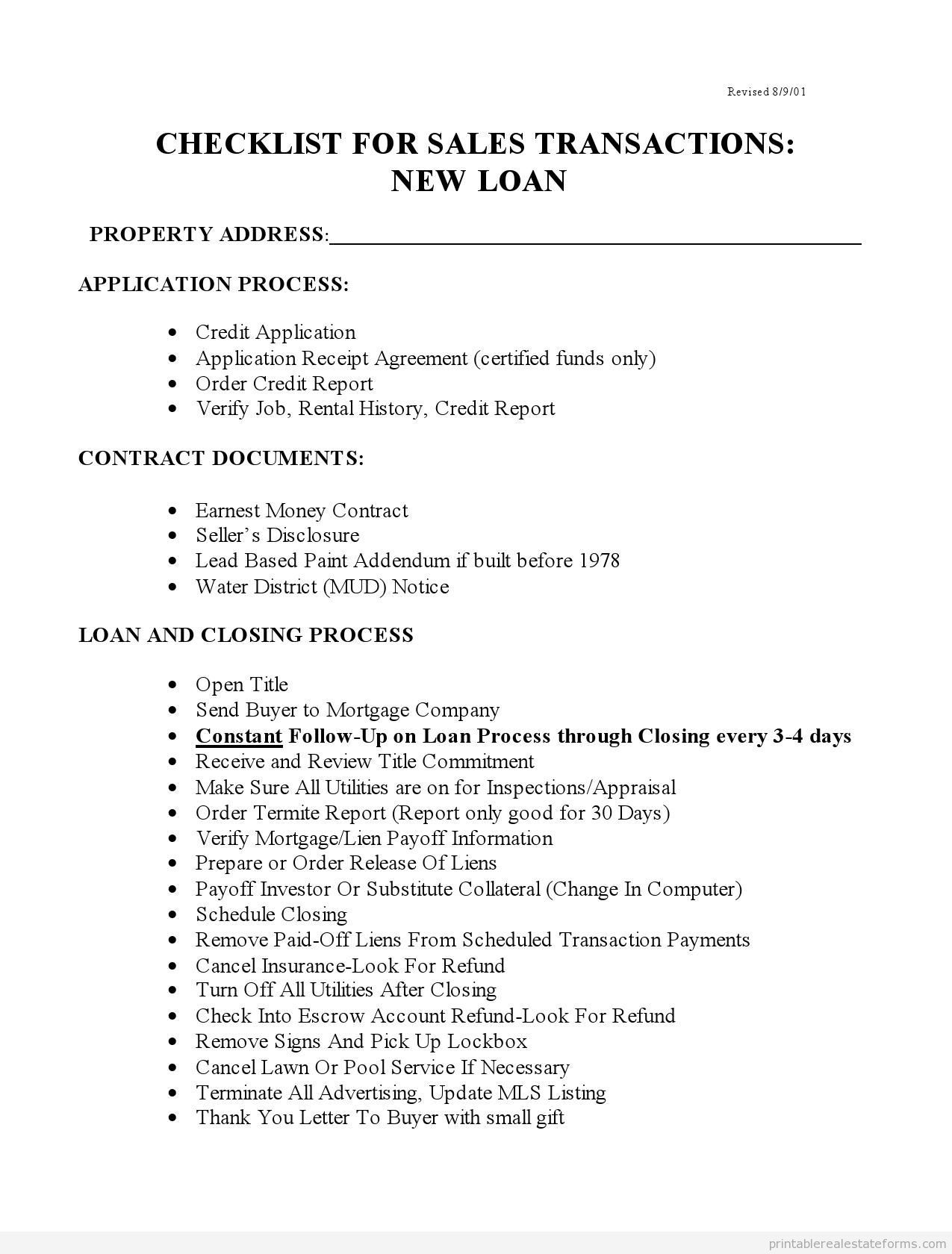 Sample Printable Checklist For Sales With New Loans 5 Form