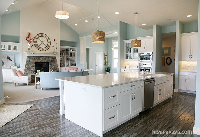 kitchen and family room great room simple clean fresh especially in love with that huge on kitchen interior grey wood id=74058
