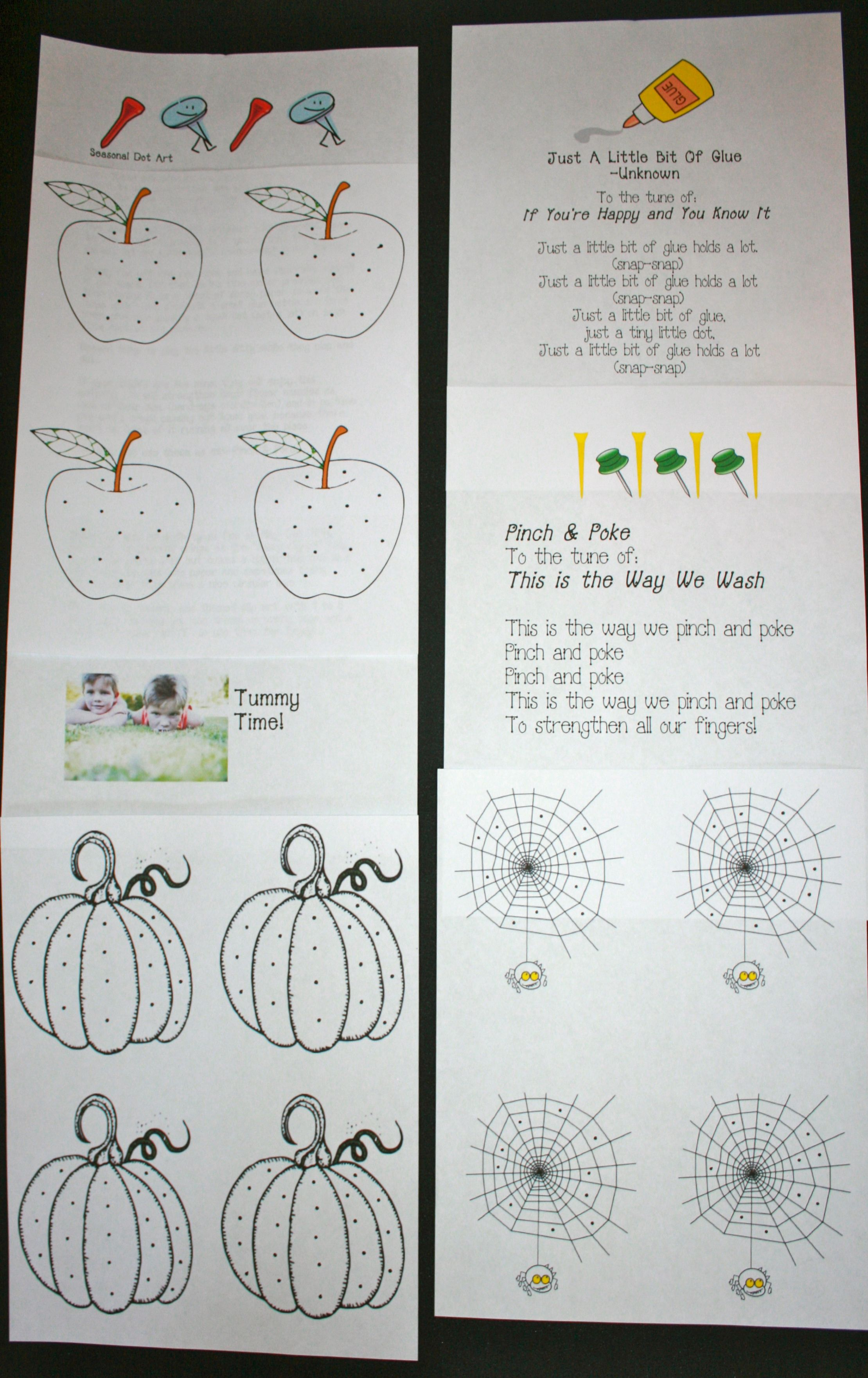 Just A Dot Not A Lot Glue Worksheets