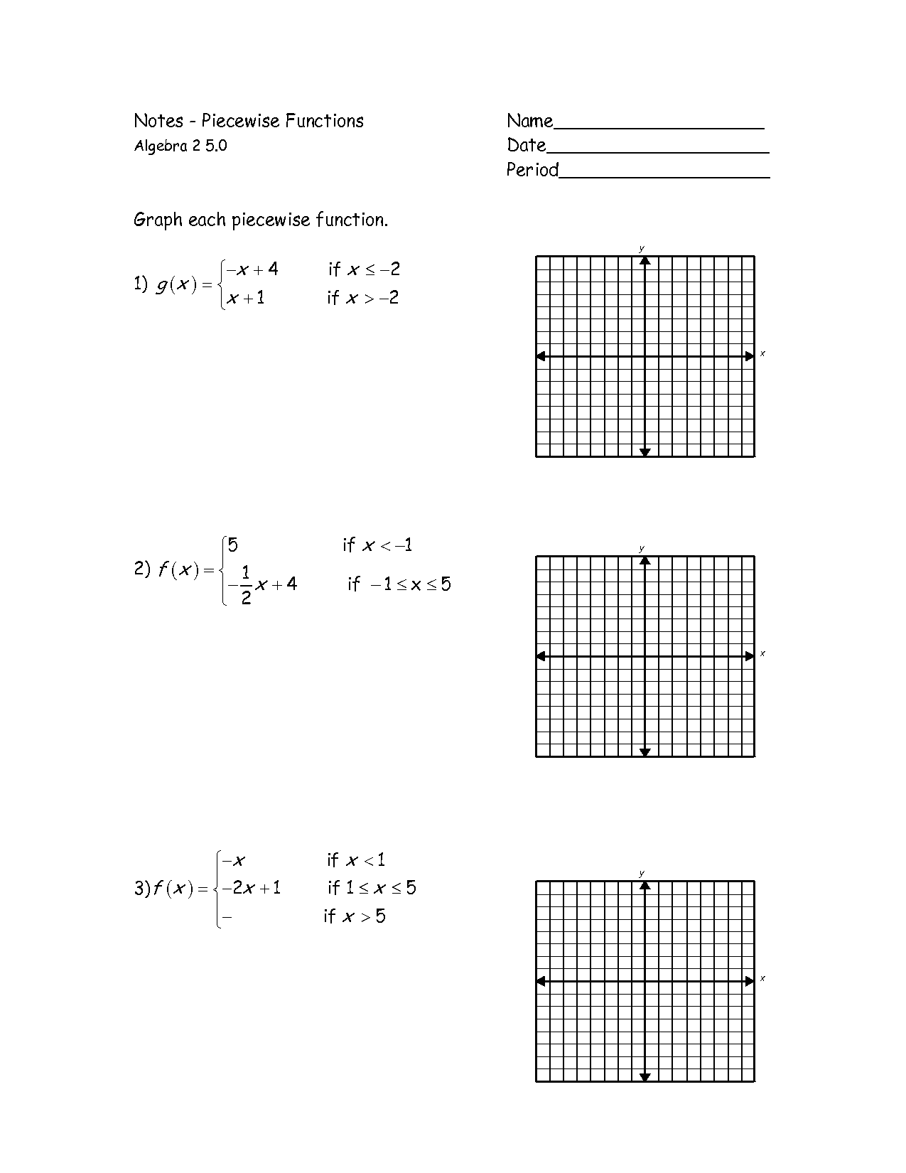 Graphs Of Piecewise Functions Worksheet