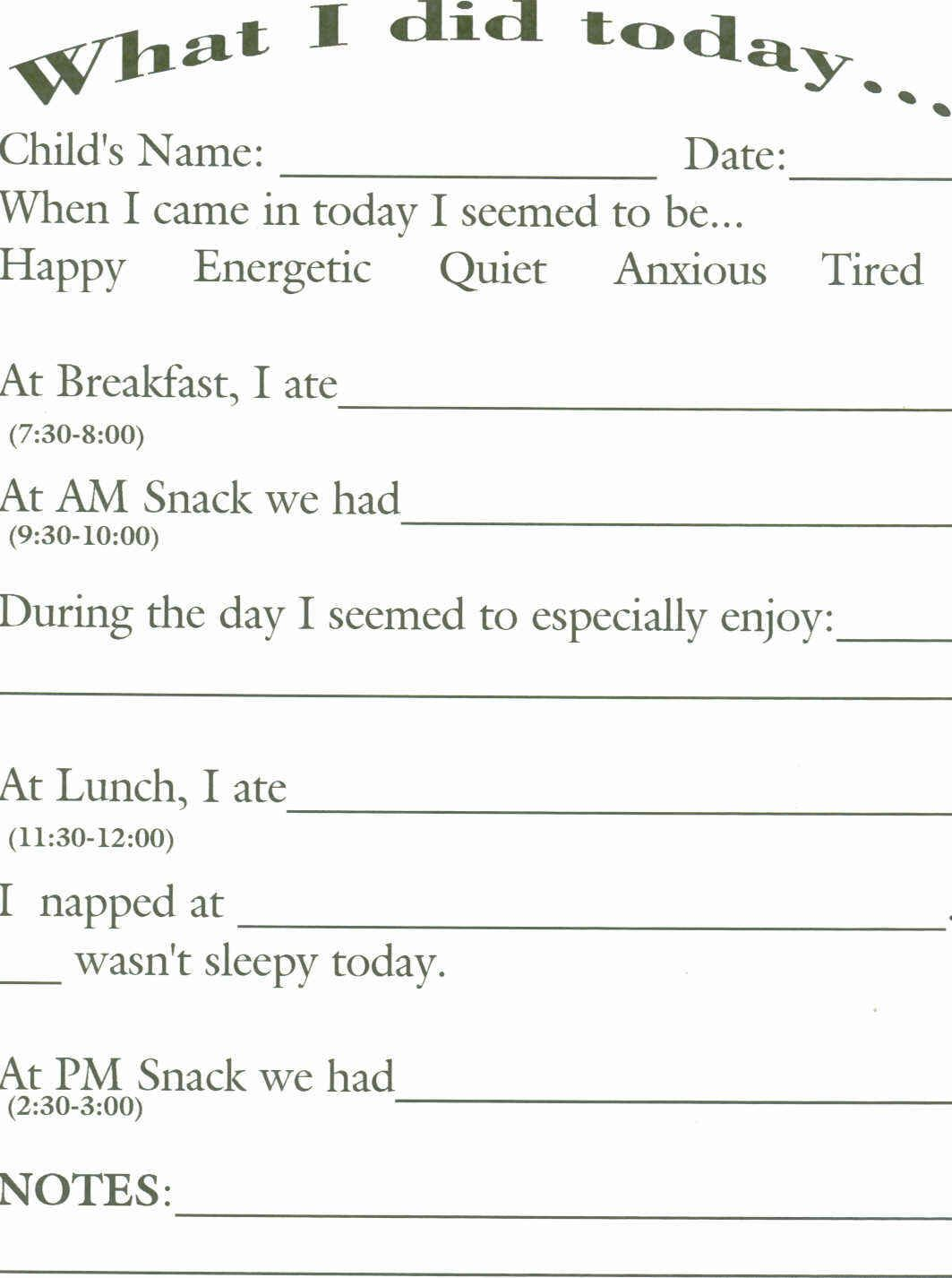 Infant Daily Report Sheets For Day Care Toddler Daycare