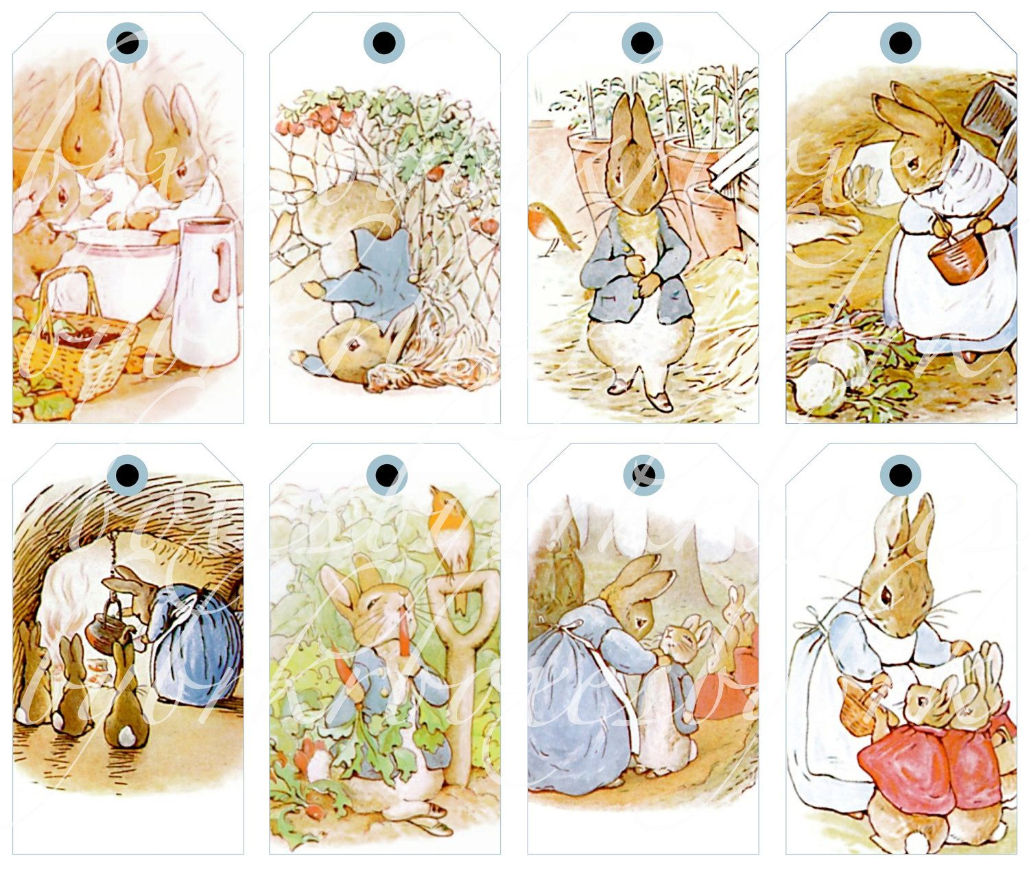 Digital Collage Sheets Eight Peter Rabbit Tags For Paper Crafts Printable Images 2 5 By 4