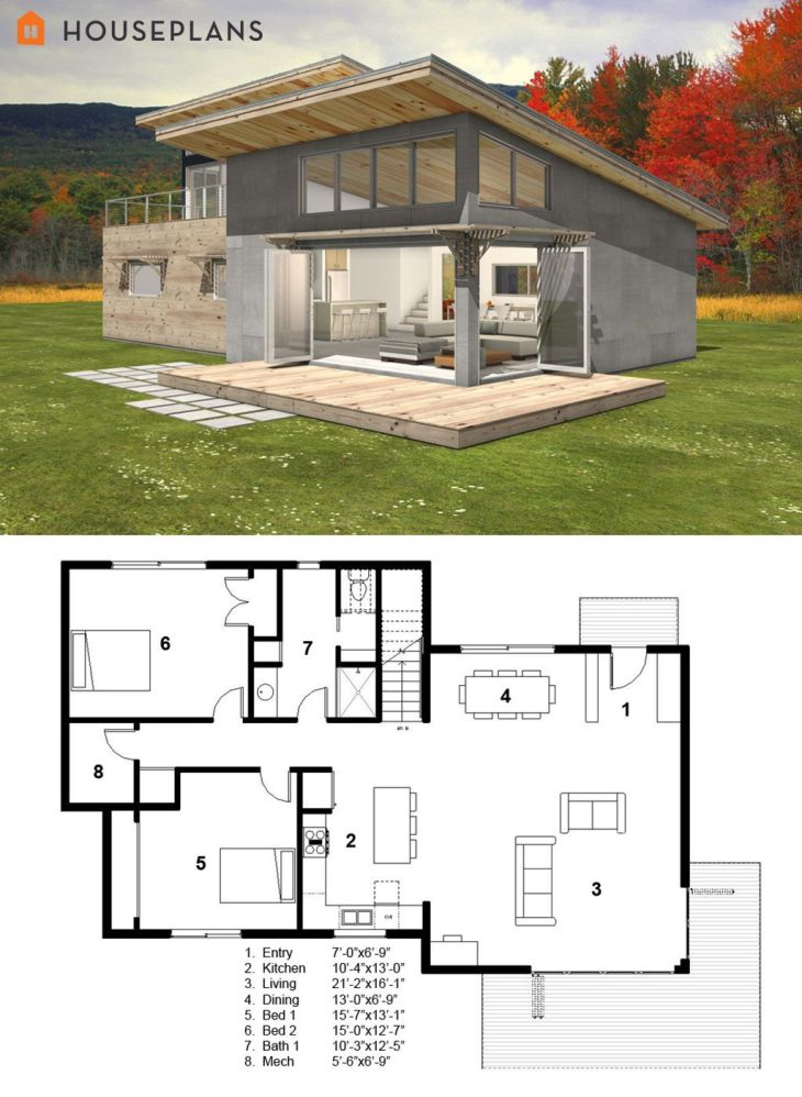 Modern Energy Efficient Cabin Home with Main Floor Plan  Plan