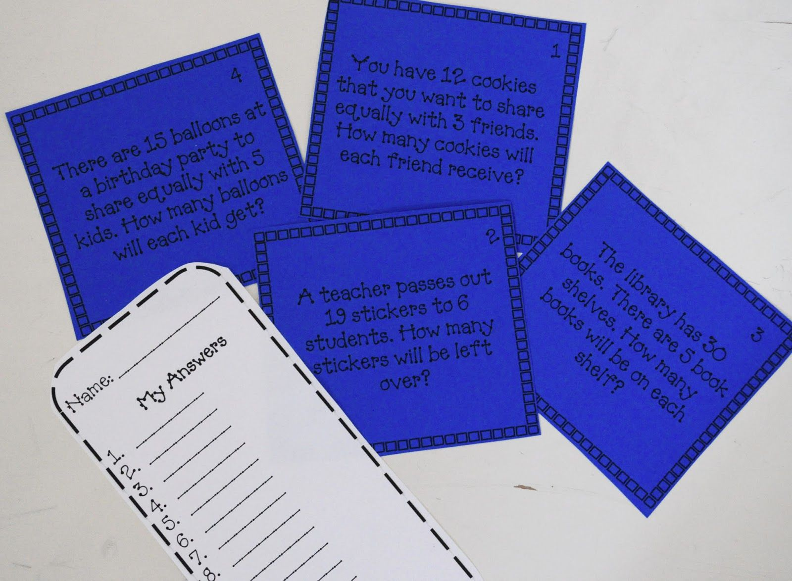 Free Division Scoot Game Word Problems With And Without Remainders