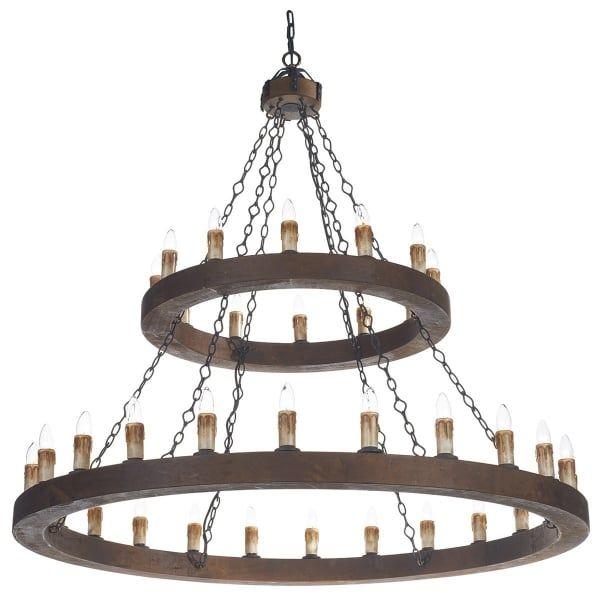 Cambridge Lighting Minstrel Large Meval Wooden Chandelier With 36 Lights