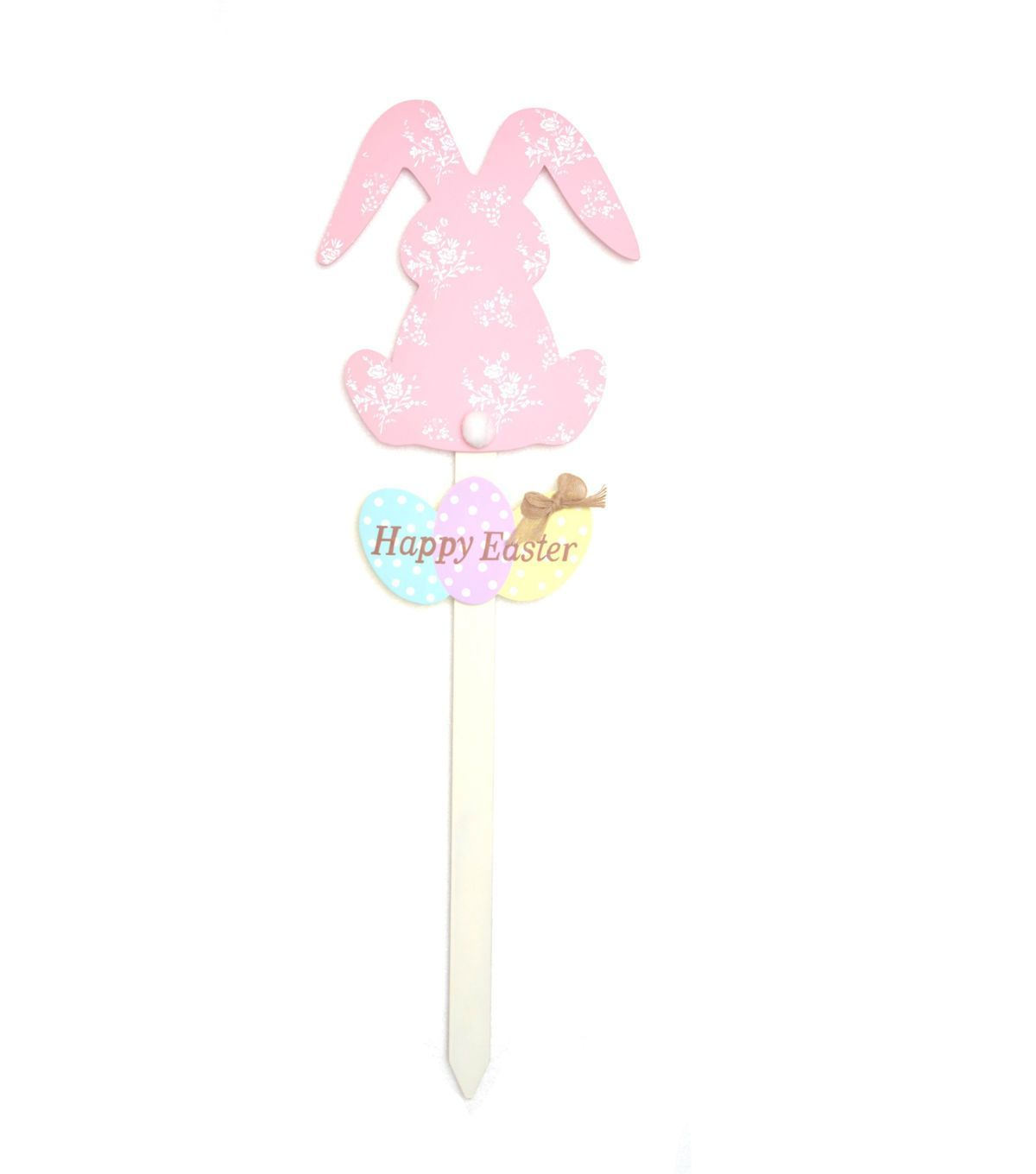 Patterned Easter Bunny Welcome Stake Pink