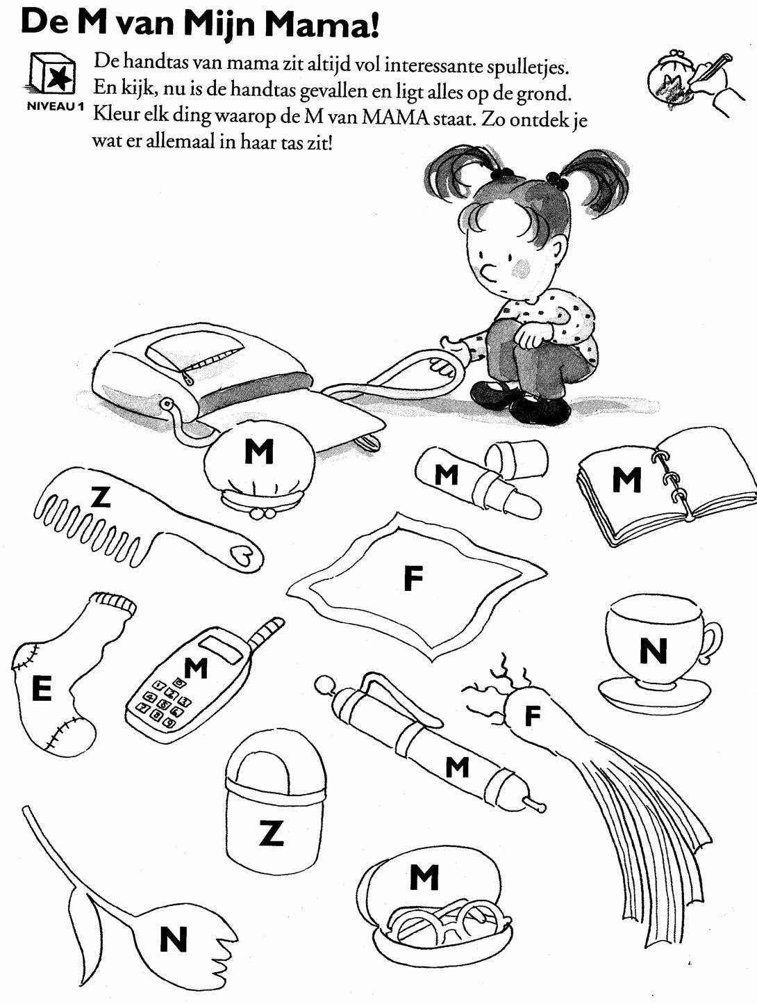 Kleur De Voorwerpen Waar De M Van Mama Op Staat