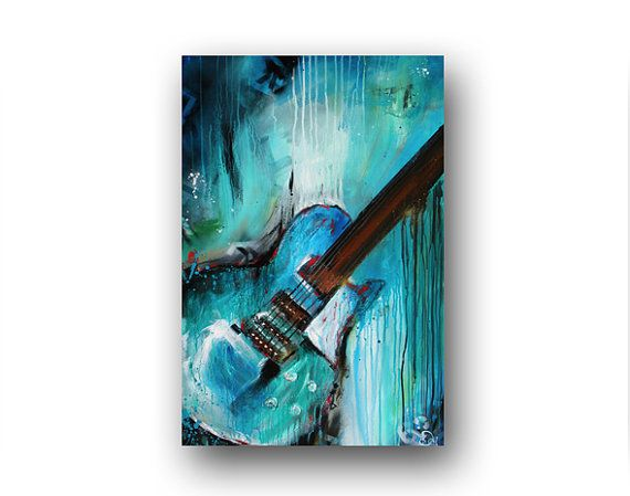 Guitar Painting Abstract Painting Large Original Painting