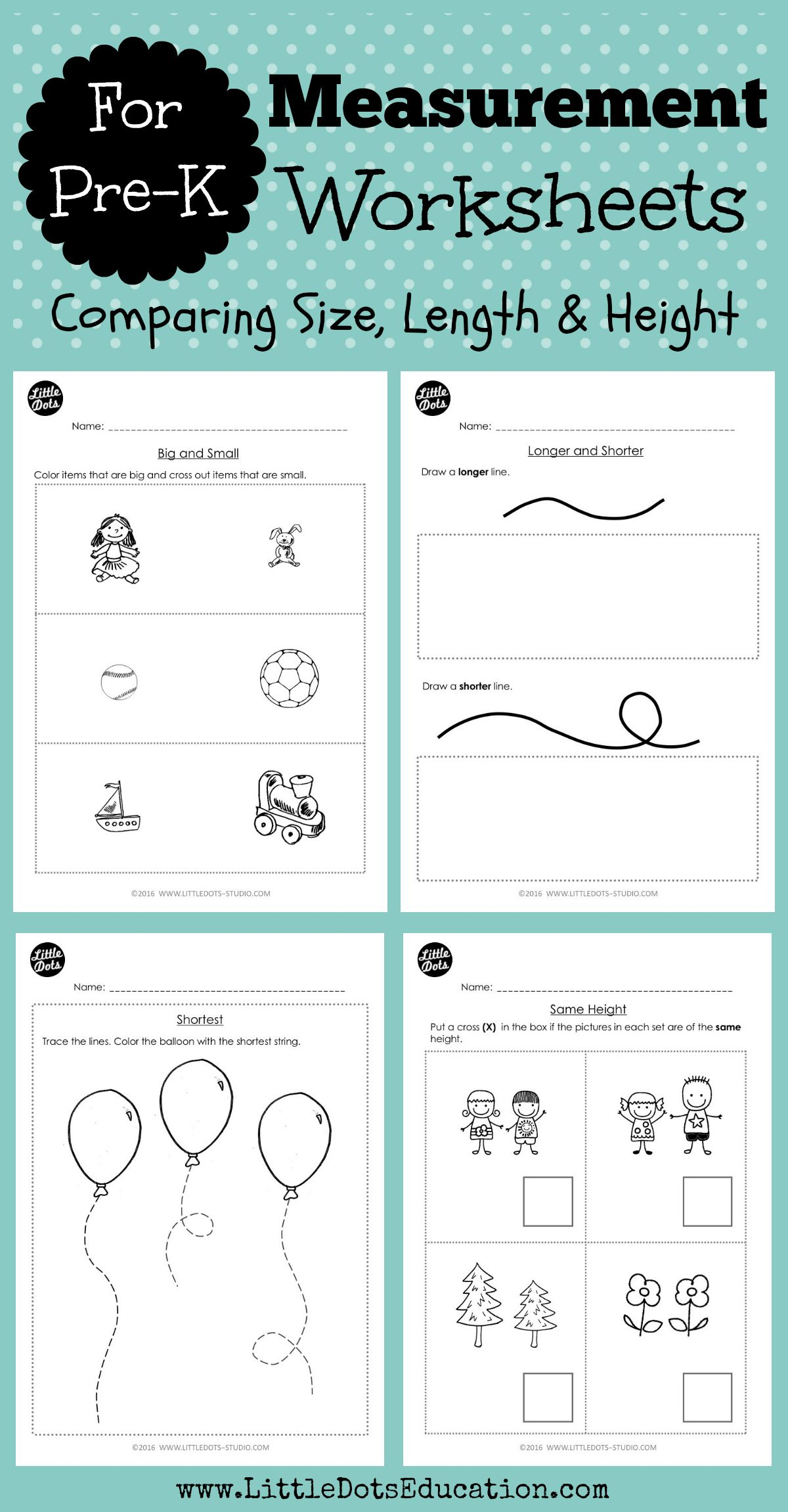 Download Worksheets And Activities To Compare Size Length And Height This Set Helps You Teach