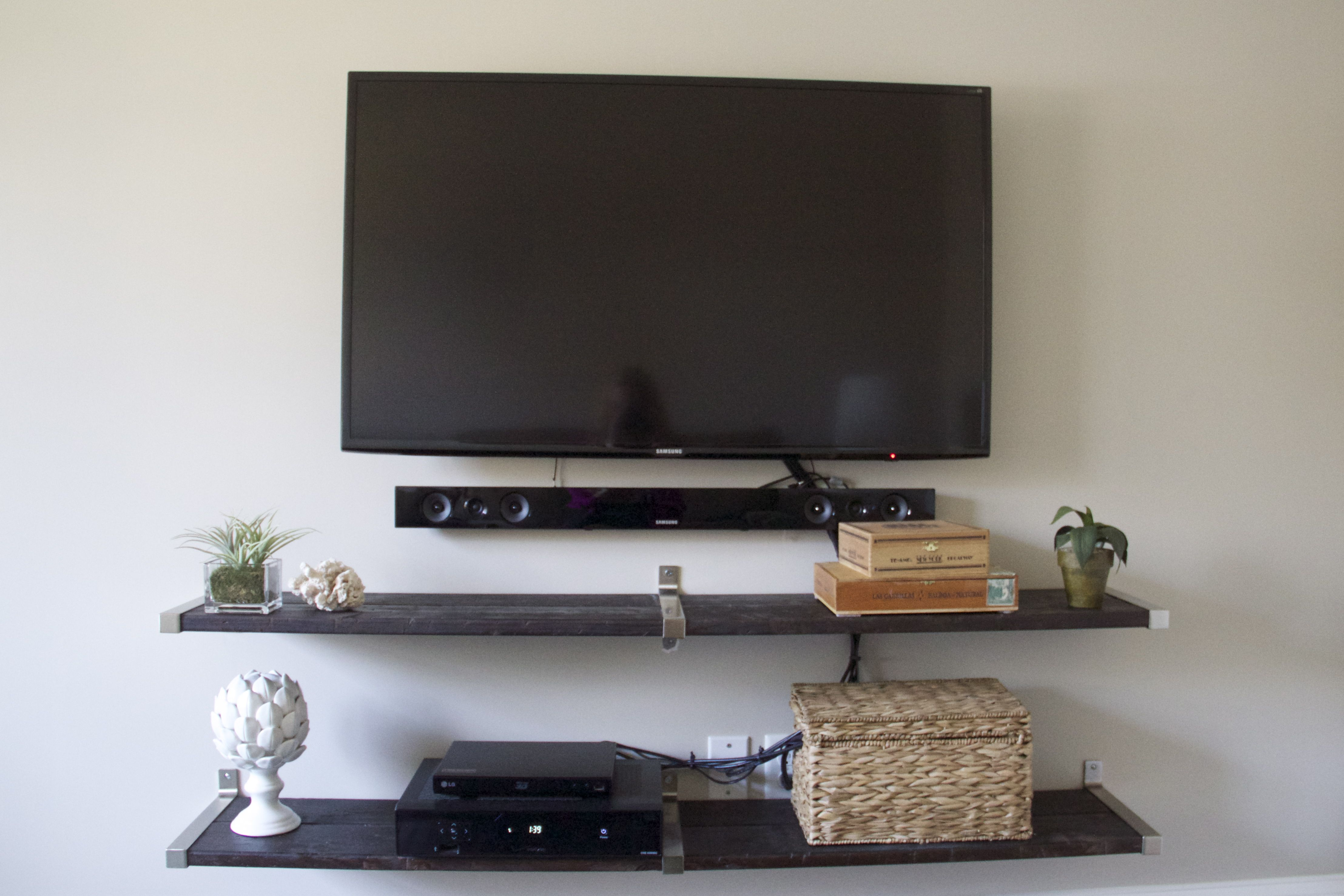 TV Wall Using IKEA EKBY Shelf End Brackets And Connecting