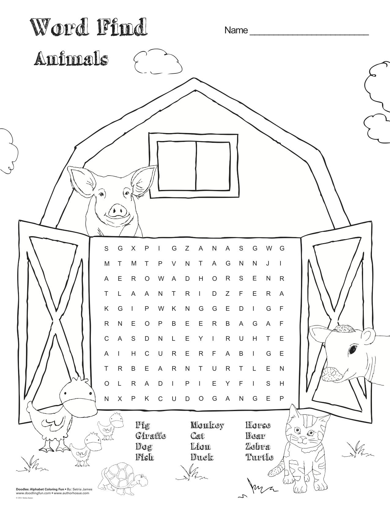 Free Printable Farm Animal Word Find Games Activities