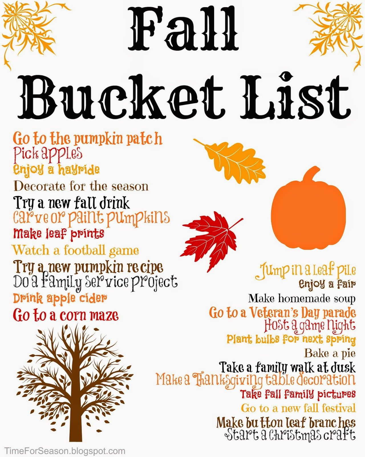 Fall Autumn Bucket List Printable Crafts Activities Kids