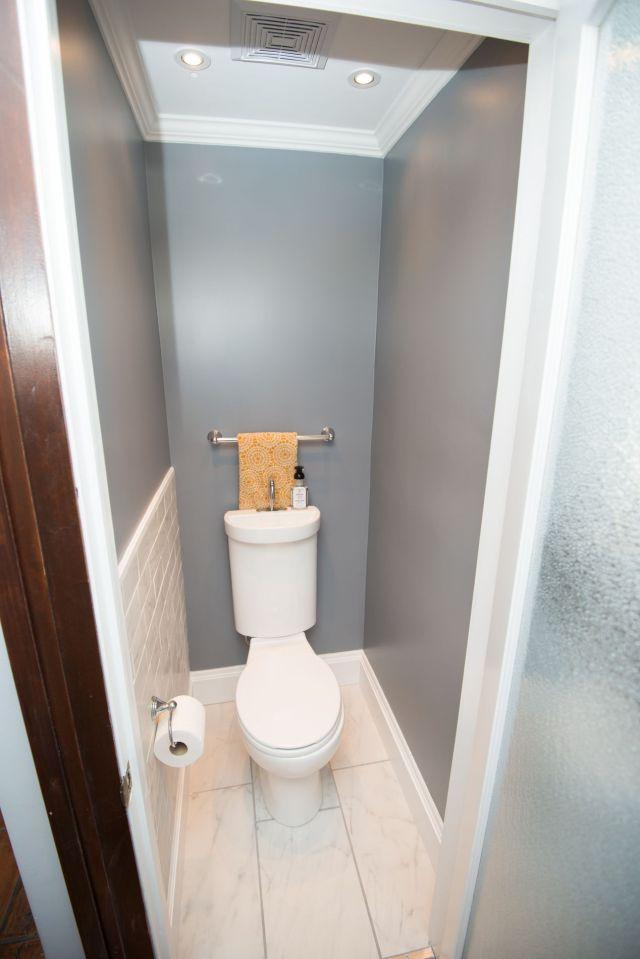 "Small bathroom Tiny powder room Room dimensions 44"" X 33"" It"
