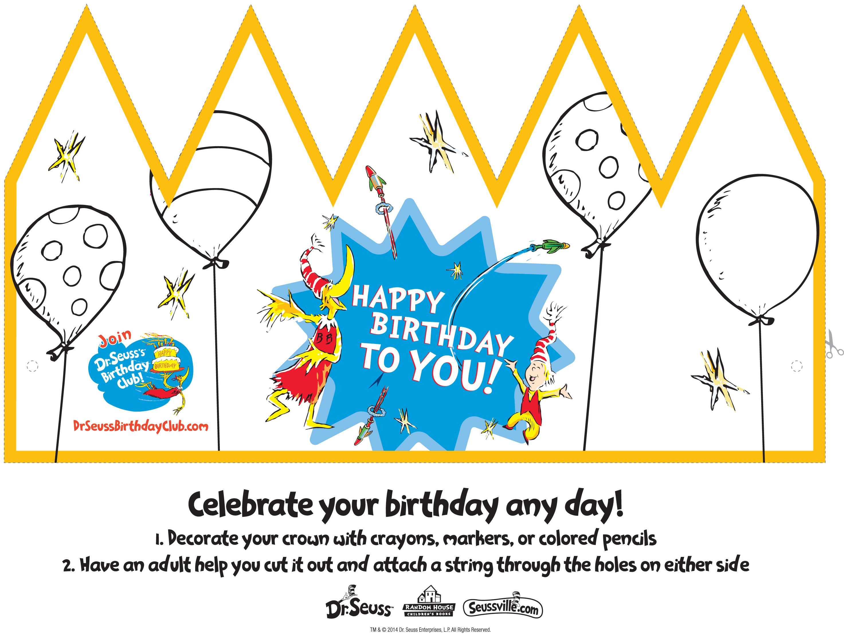 Make Your Own Dr Seuss Birthday Crown