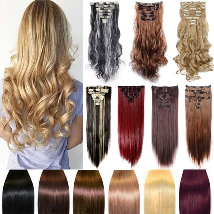 FIRSTLIKE  Straight Medium Brown Clip In Hair Extensions Thick