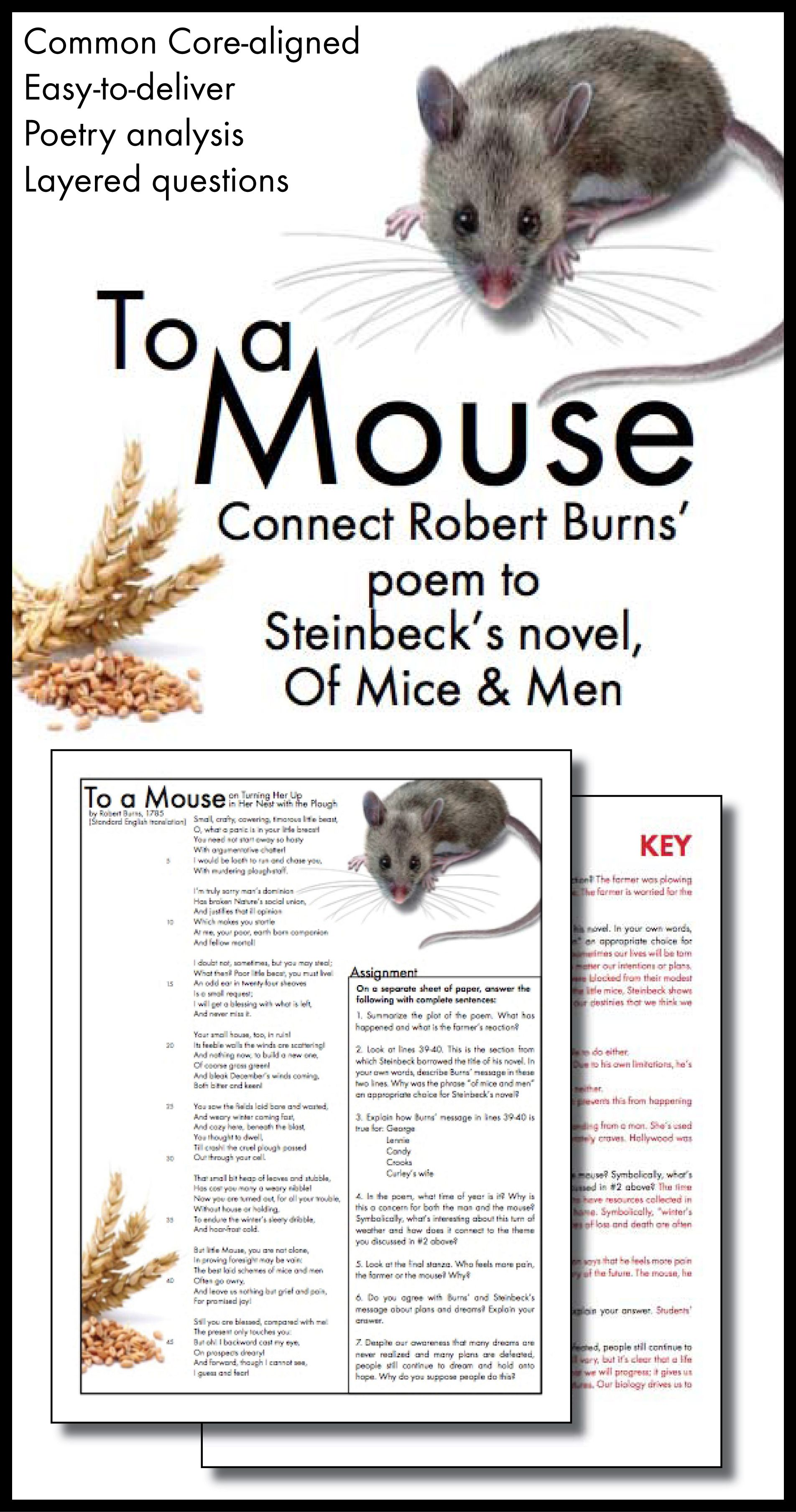 To A Mouse Connect Robert Burns Poem To Steinbeck S Of