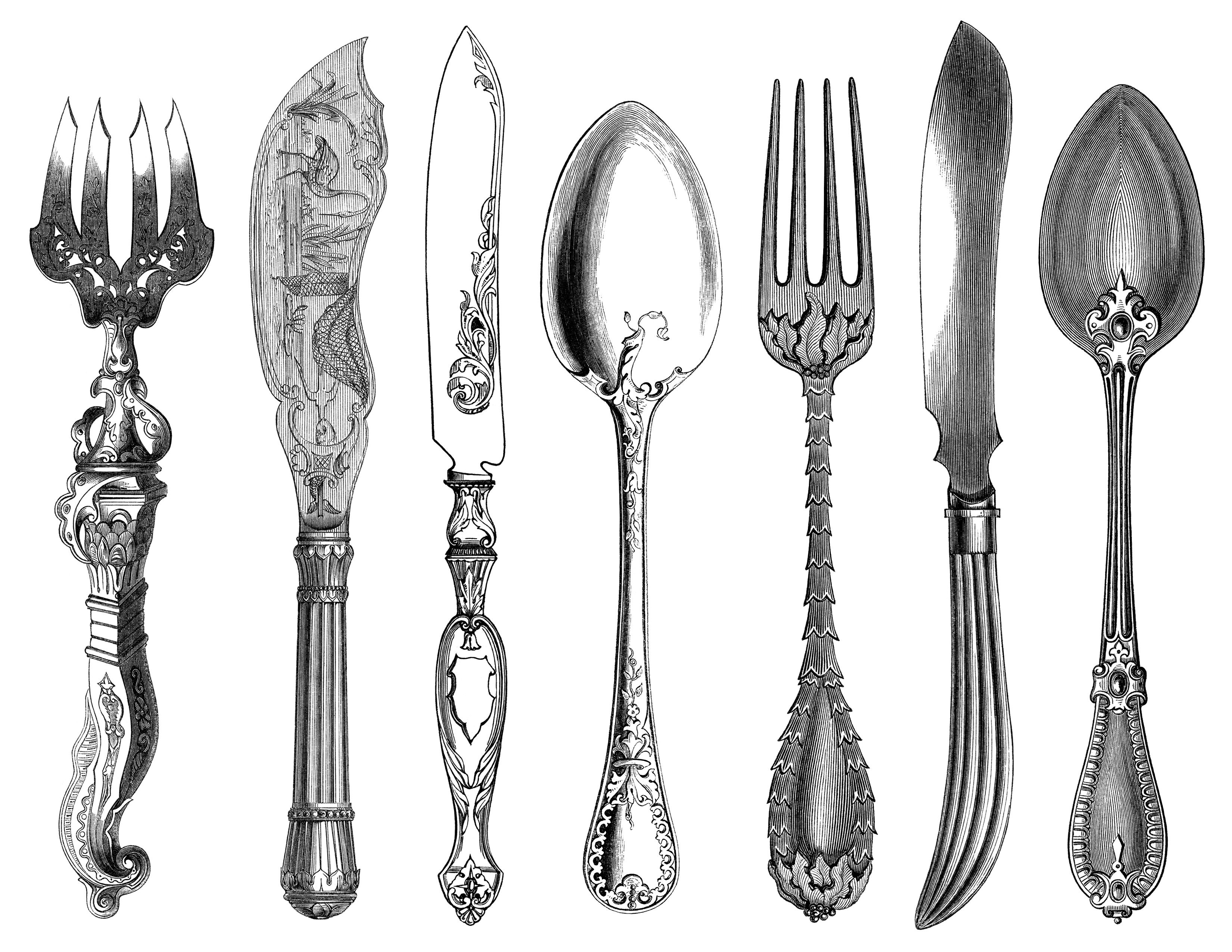 Black And White Clip Art Kitchen Printable Fork Knife Spoon Clipart Antique Cutlery Engraving