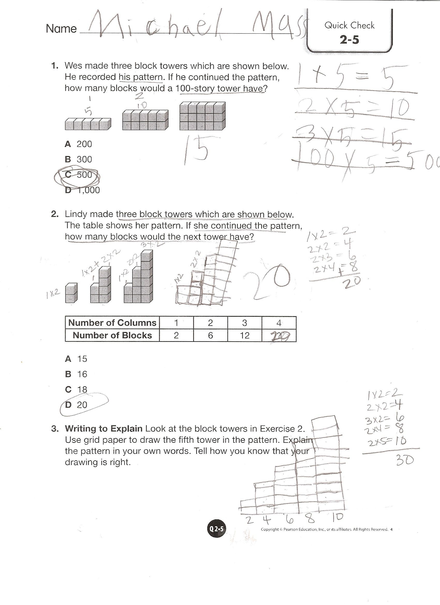Pearson Math Worksheet 9 7 For Fifth Grade