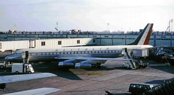 Alitalia DC-8.This is the type we flew from Entebbe ...