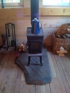 Wood Stove With Slate Hearth In The Man Cave For The