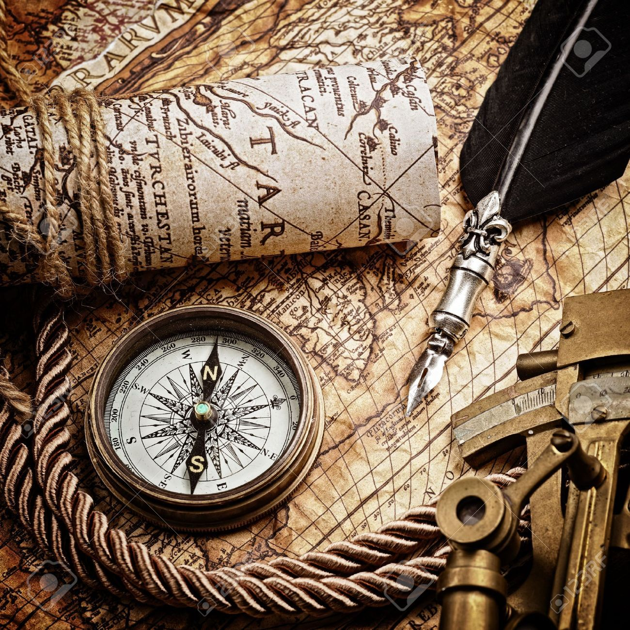 Vintage Map With Astrolabe Compass And Navigation
