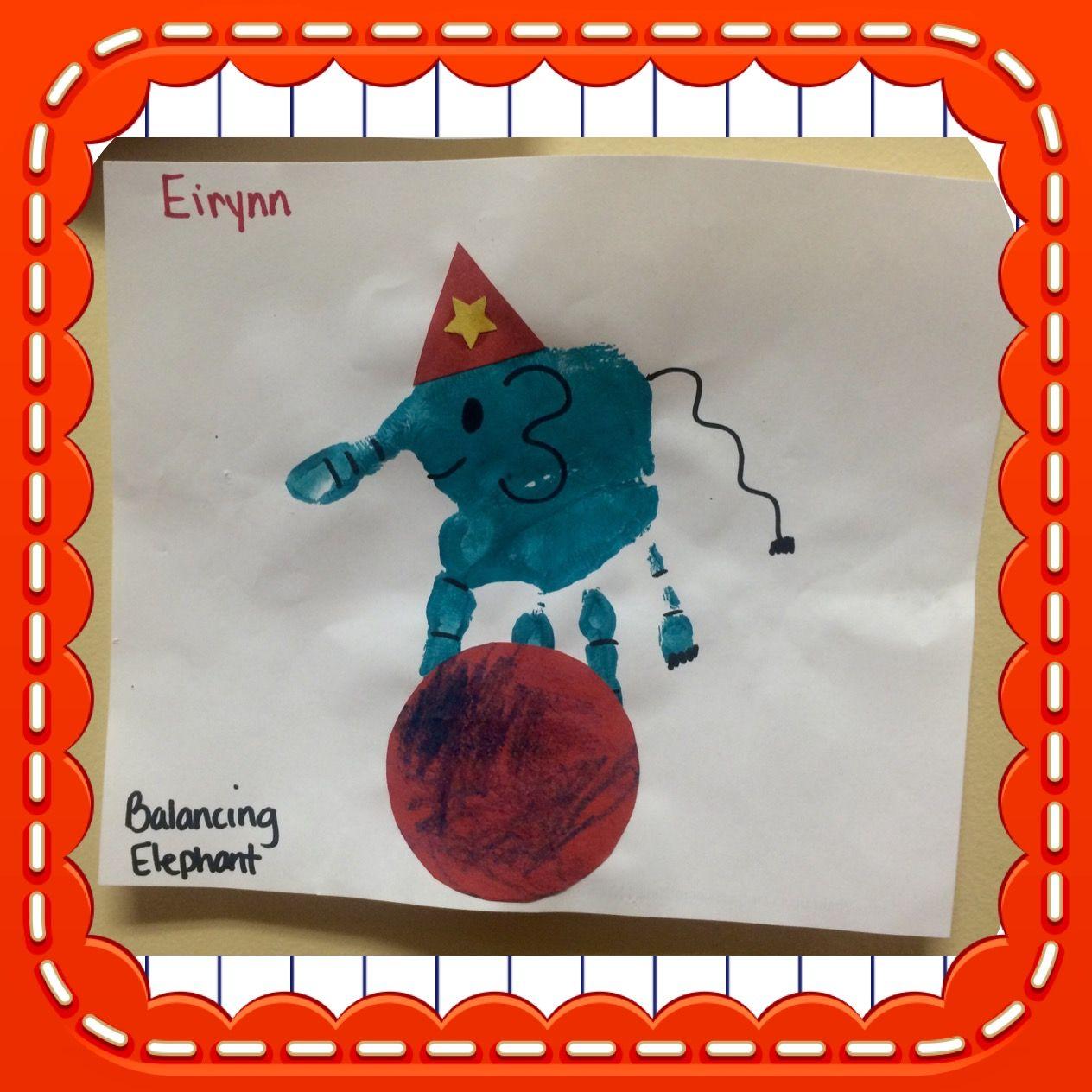 Elephant Hand Print Art For Circus And Animal Themed