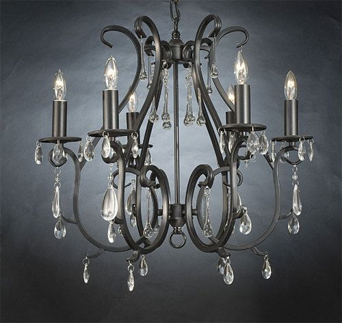 New Versailles Collection Wrought Iron Crystal Chandeliers 6 Lights Fixture Ebay 209