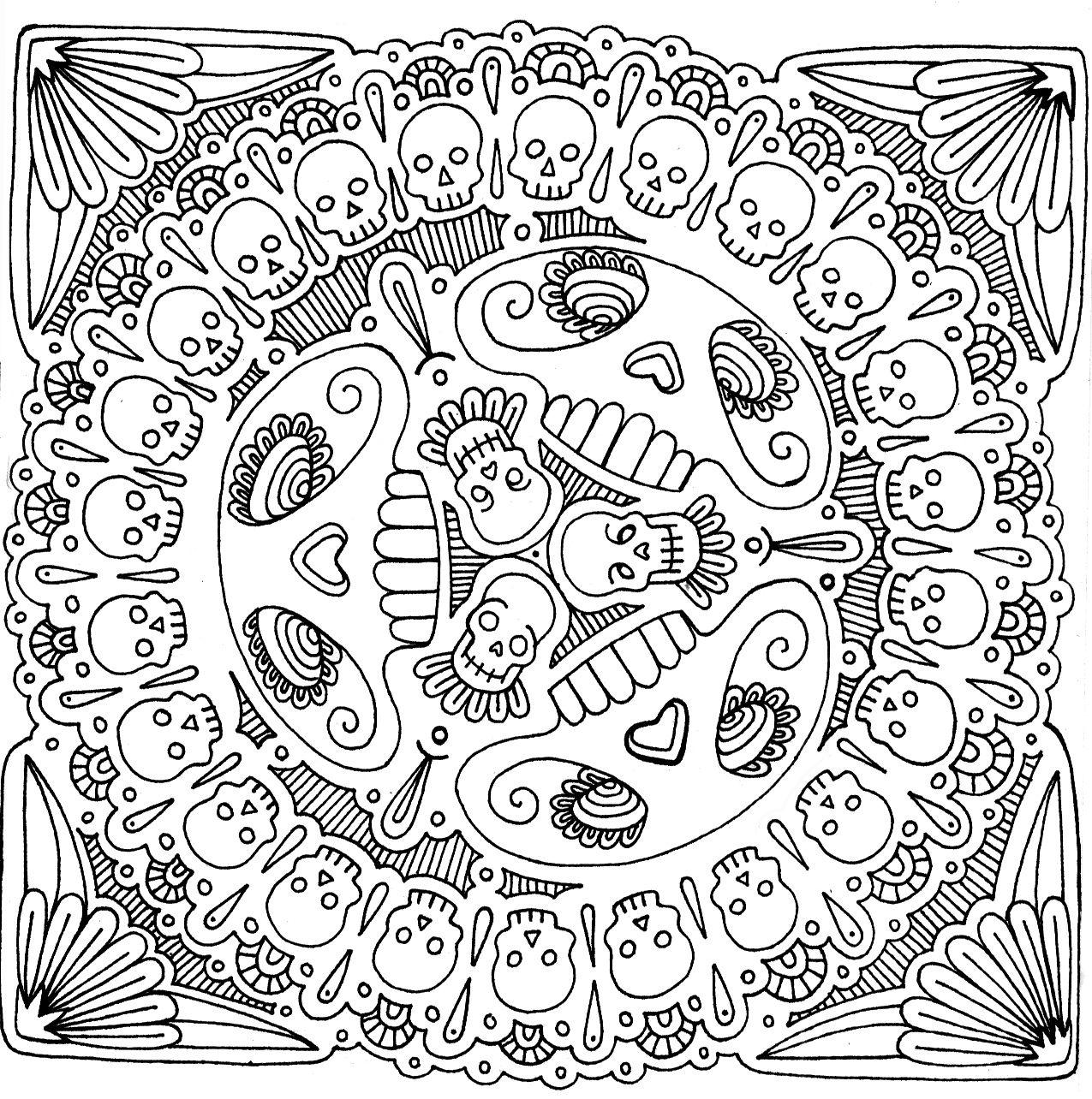 Sugar Skull Mandala Coloring Page