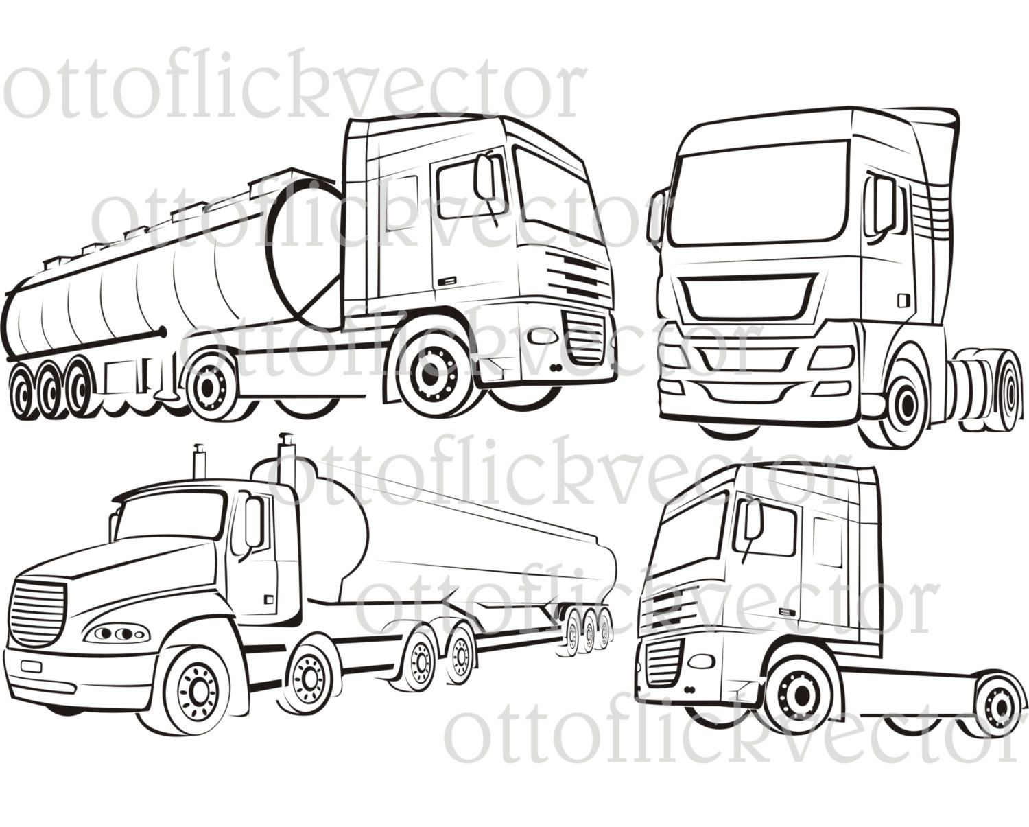 Truck Tir Lorry Silhouettes And Vector Outlines Vector