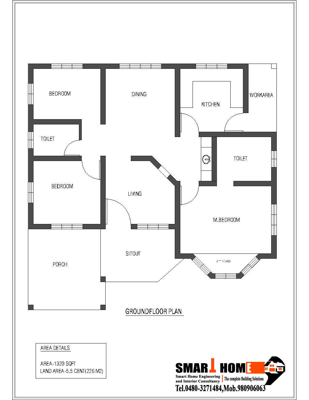 1320 Sqft Kerala Style 3 Bedroom House Plan From Smart Home Gf