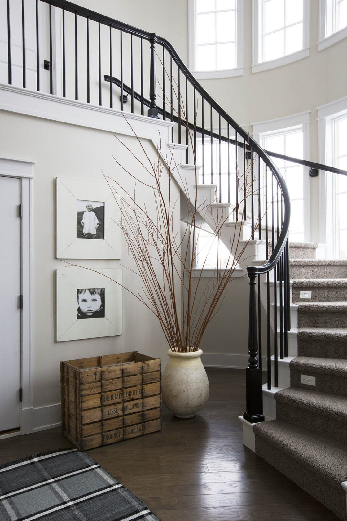 Curved Staircase Black And White Interiors Entryways Hallways And Stairways Pinterest