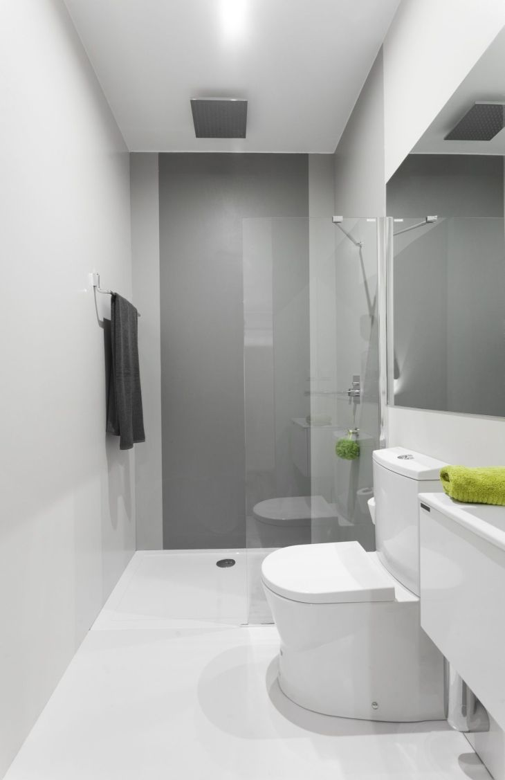 Narrow bathroom with Sanindusa products Small size toilet and basin