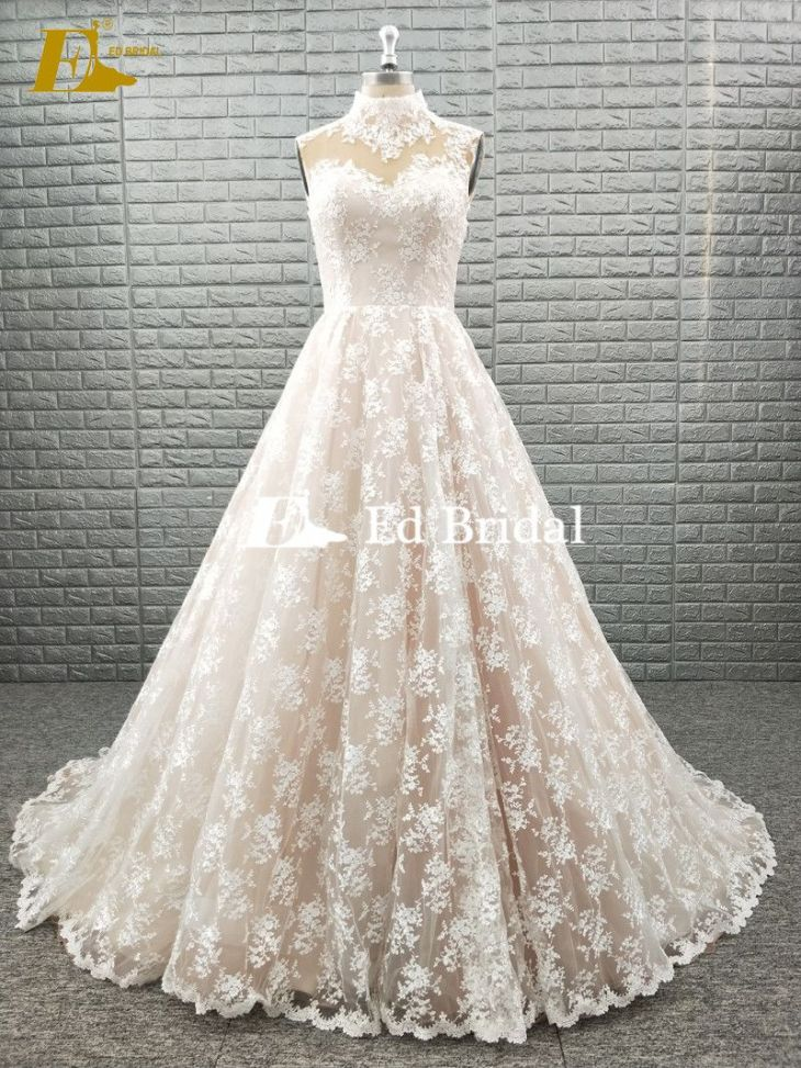 HIGH NECK SLEEVELESS LACE FABRIC WEDDING DRESS CHAMPAGNE COLOR