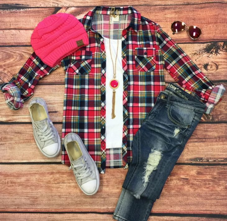 Penny Plaid Flannel Top PinkBlues top can be worn as long sleeves