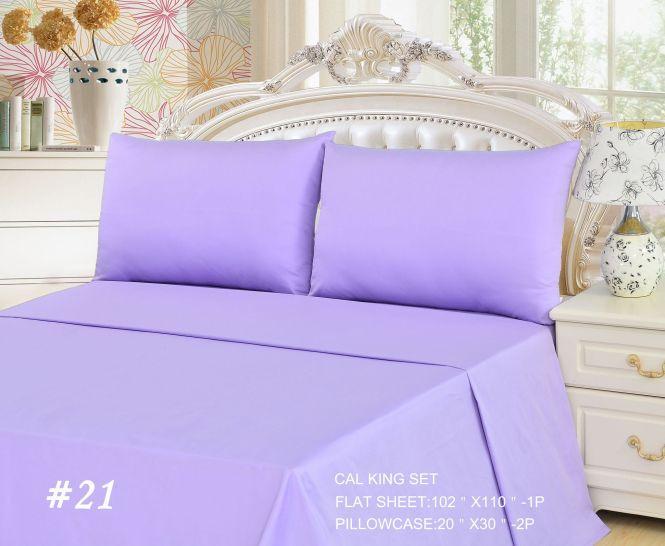 Tache 2 To 3 Pc Cotton Solid Lavender Dreams Light Purple Bed Sheet Set Flat