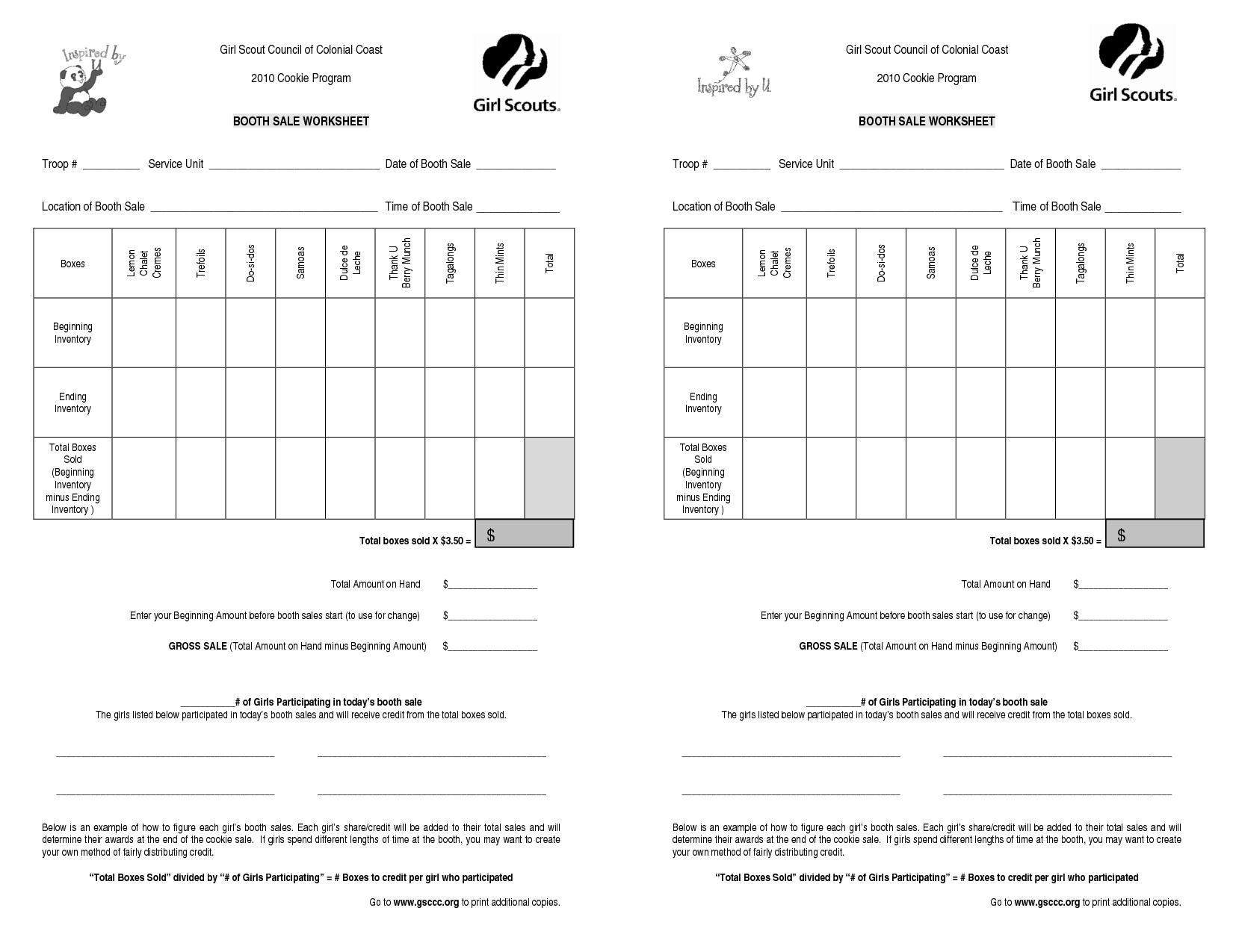 Girl Scout Cookie Booth Forms