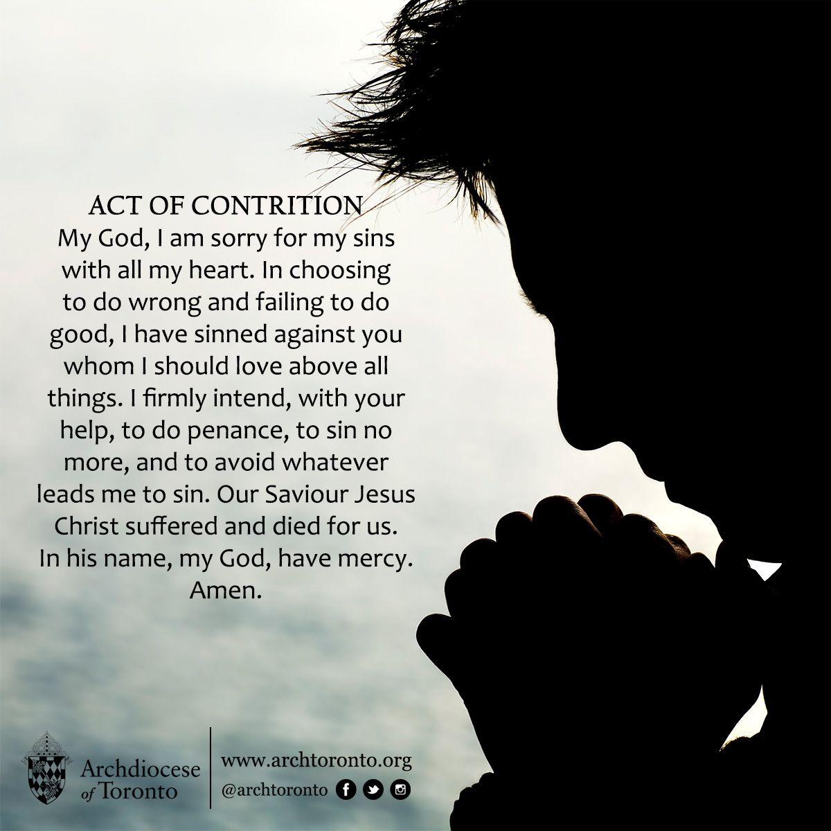 Act Of Contrition Prayer Catholic Confession