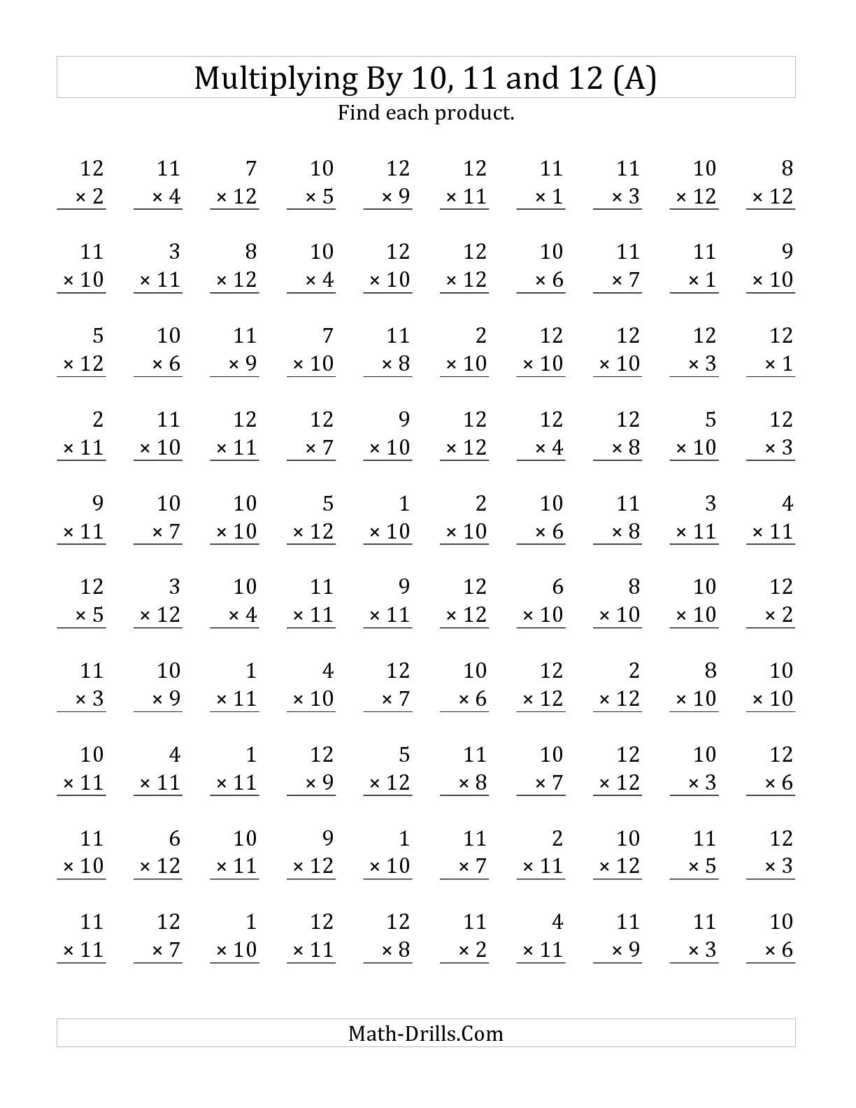 The Multiplying 1 To 12 By 10 11 And 12 A Math Worksheet From The Multiplication Worksheet