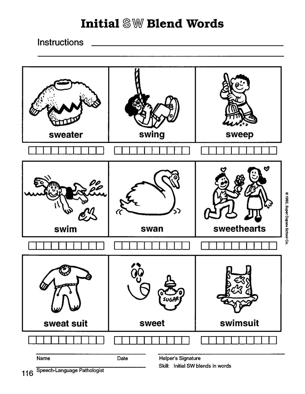 S Blend Coloring Sheets